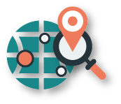 map icon with magnifying glass