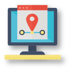 computer icon with GPS browser icon