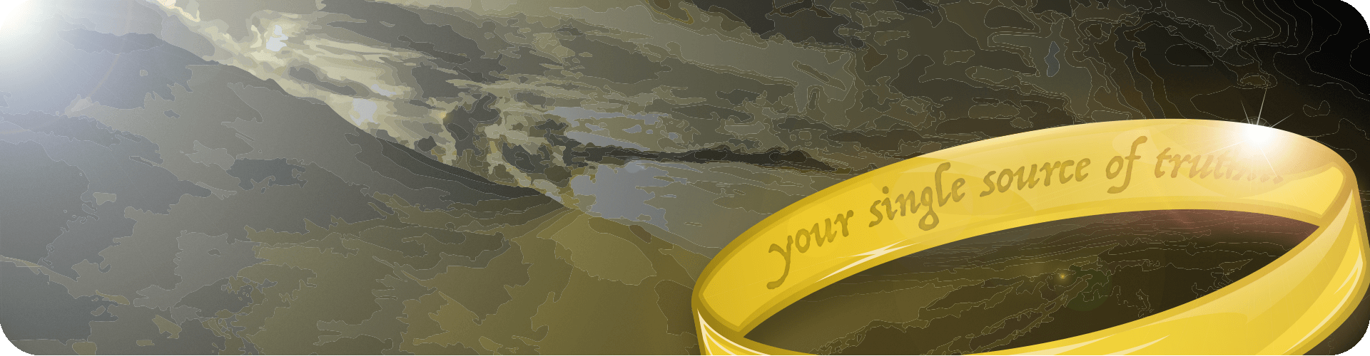 your single source of truth lord of the rings style ring and mountains