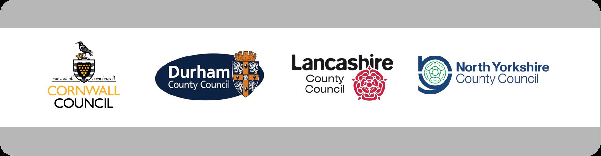 cornwall council, durham council, lancashire council and north yorkshire council logos