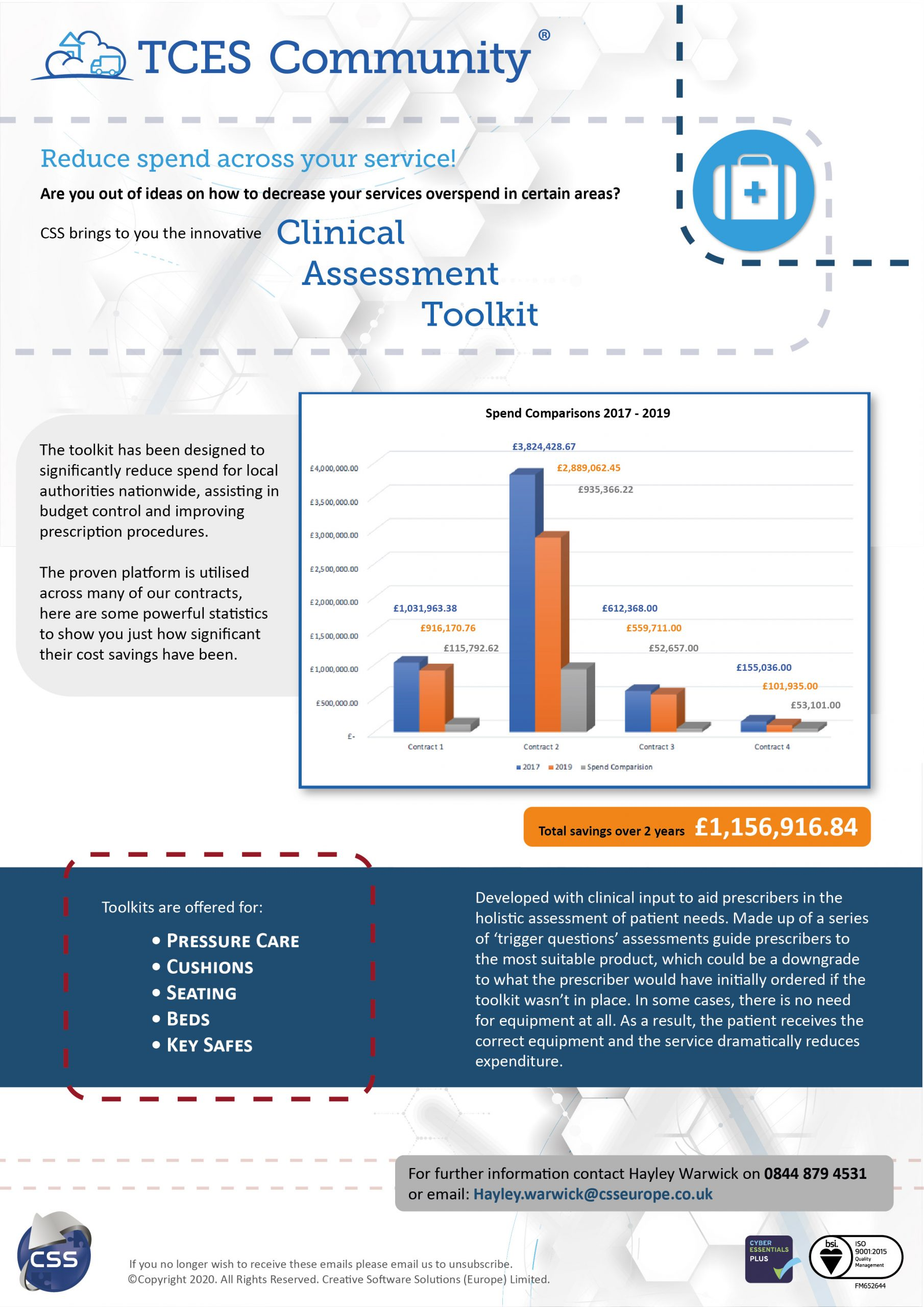 clinical assessment toolkit flyer with savings examples