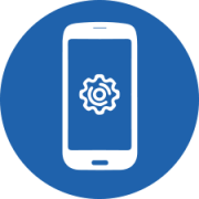 phone with a cog on the screen in blue