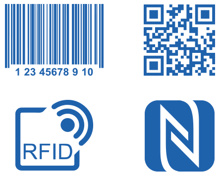 barcode, qr code, rfid logo and nfc logo