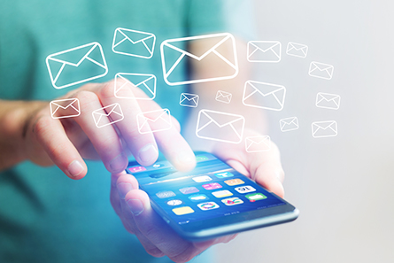 Concept view of sending email with a technology smartphone interface