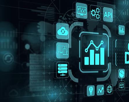 Open data database integration api internet technology concept.