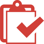 clipboard with large tick in red icon