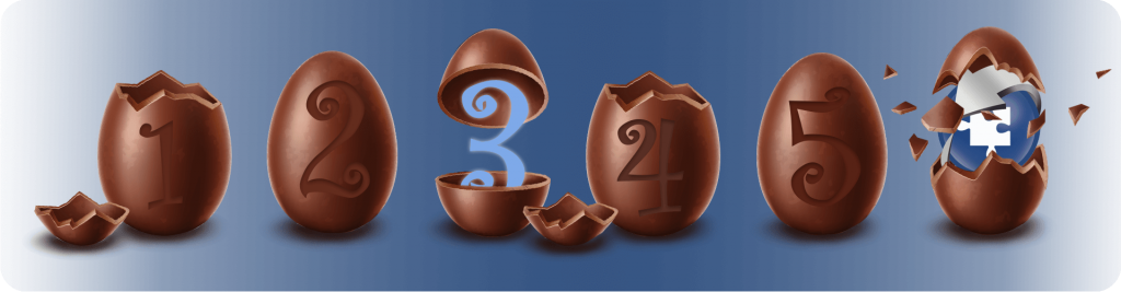 1 to 5 chocolate easter egg countdown