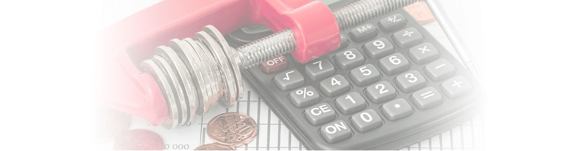 calculator and coins with a chart