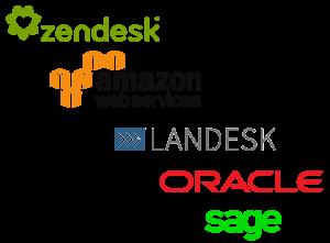 api usage logos, zendesk, AWS, landesk, oracle and sage